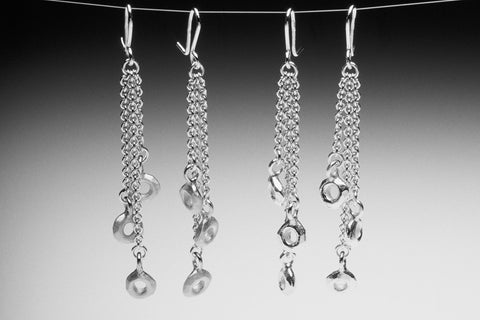 Long Silver Cascading Circle Drop Dangling Earrings by Fiona DeMarco Etsy Shop