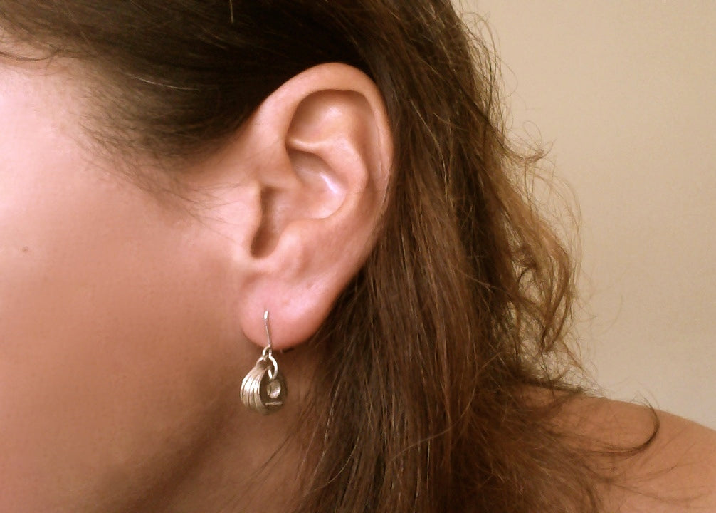 Hammered Silver Round Discs Earrings