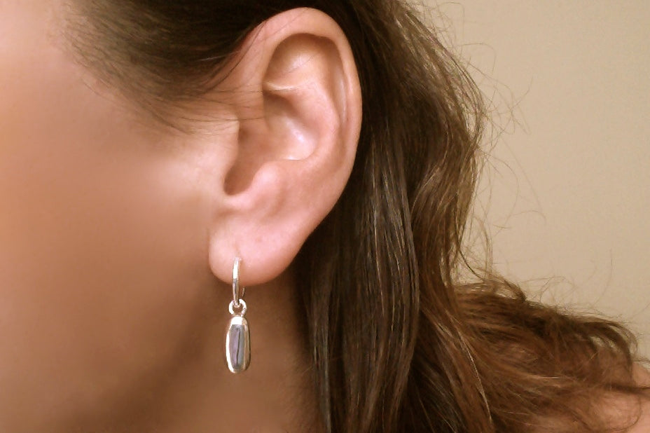 Pebble Bean Silver Dangling Earrings
