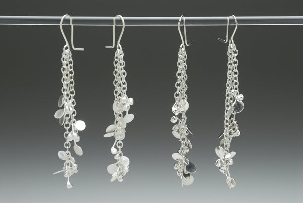 Accent dangling Earrings, satin and polished silver by Fiona DeMarco