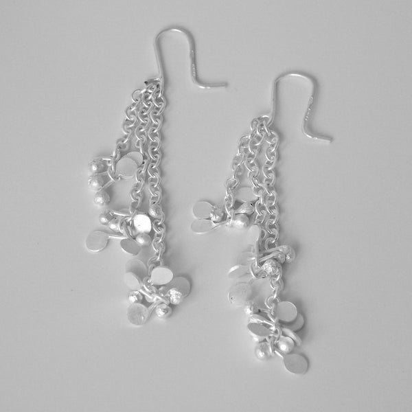 Accent dangling Earrings, satin silver by Fiona DeMarco