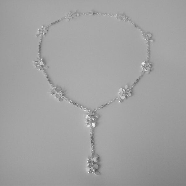 Accent lariat Necklace, satin silver by Fiona DeMarco