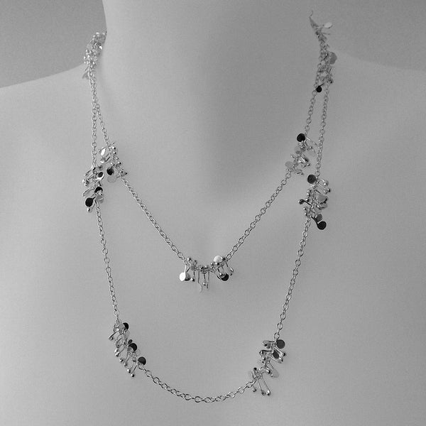 Accent long Necklace, polished silver by Fiona DeMarco