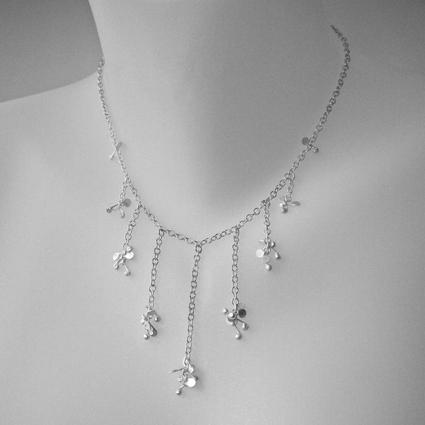 Accent semi graduated Necklace, satin silver by Fiona DeMarco