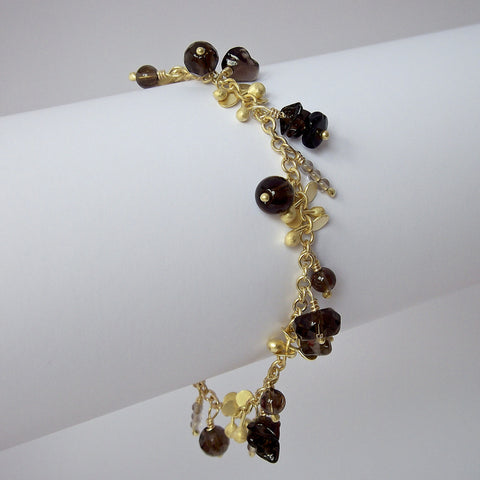 Adorn Precious Bracelet with smoky quartz, 18ct yellow gold satin by Fiona DeMarco
