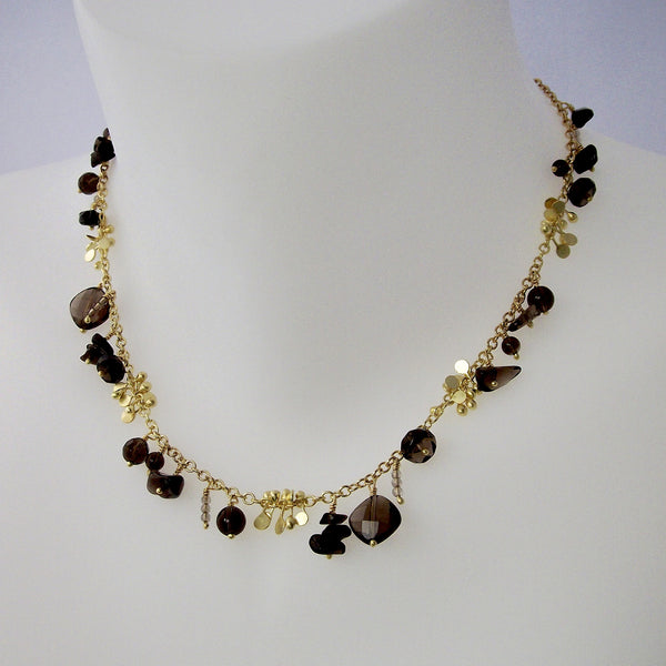 Adorn Precious Necklace with smoky quartz, 18ct yellow gold satin by Fiona DeMarco