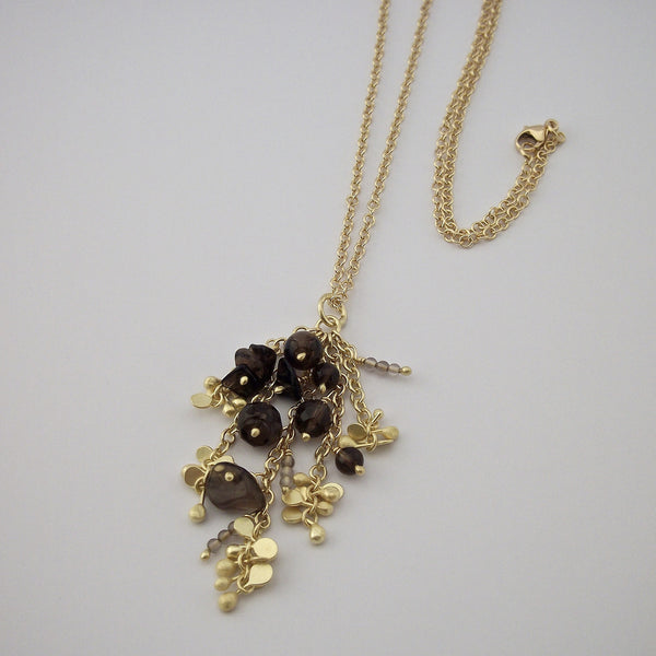 Adorn Precious Pendant with smoky quartz, 18ct yellow gold satin by Fiona DeMarco