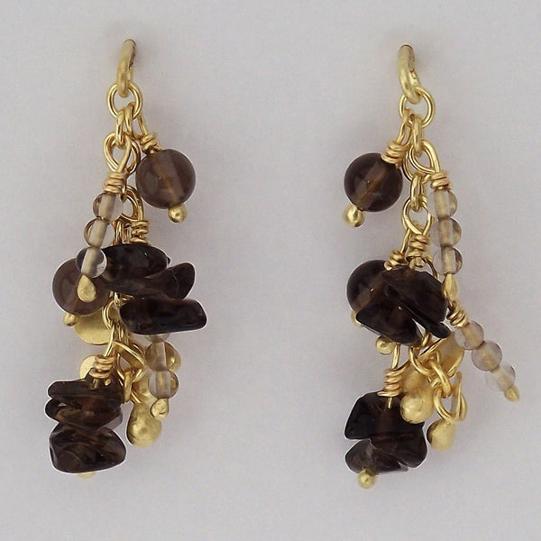 Adorn Precious stud Earrings with smoky quartz, 18ct yellow gold satin by Fiona DeMarco