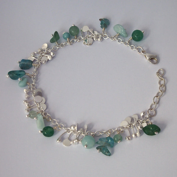 Adorn Bracelet with amazonite, apatite and aventurine, polished silver by Fiona DeMarco