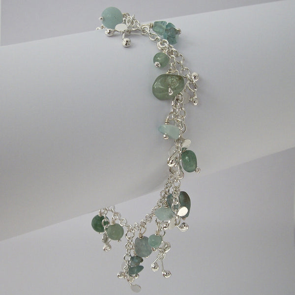 Adorn charm Bracelet with amazonite, apatite and aventurine, polished silver by Fiona DeMarco