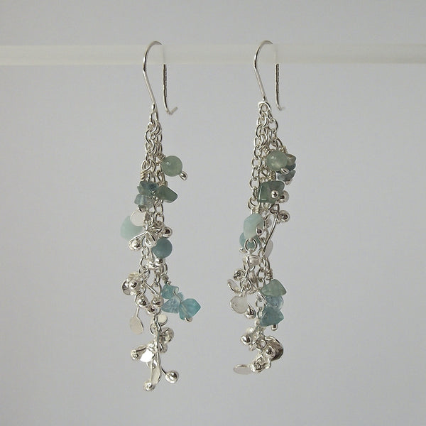Adorn dangling Earrings with amazonite, apatite and aventurine, polished silver by Fiona DeMarco