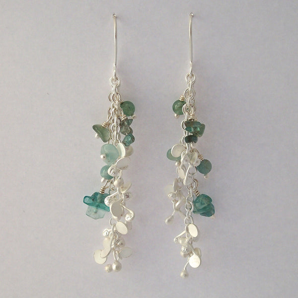 Adorn dangling Earrings with amazonite, apatite and aventurine, satin silver by Fiona DeMarco