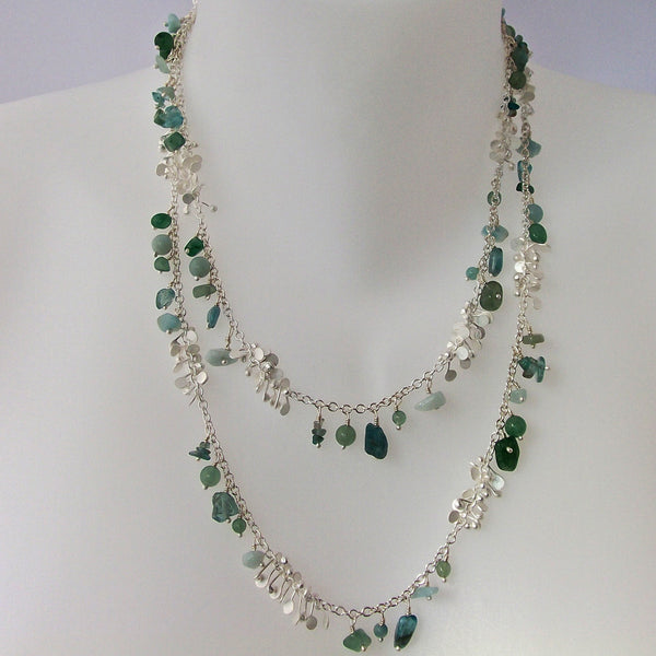 Adorn long Necklace with amazonite, apatite and aventurine, satin silver by Fiona DeMarco