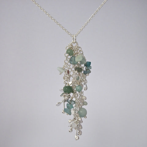 Adorn Pendant with amazonite, apatite and aventurine, polished silver by Fiona DeMarco