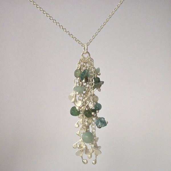 Adorn Pendant with amazonite, apatite and aventurine, satin silver by Fiona DeMarco