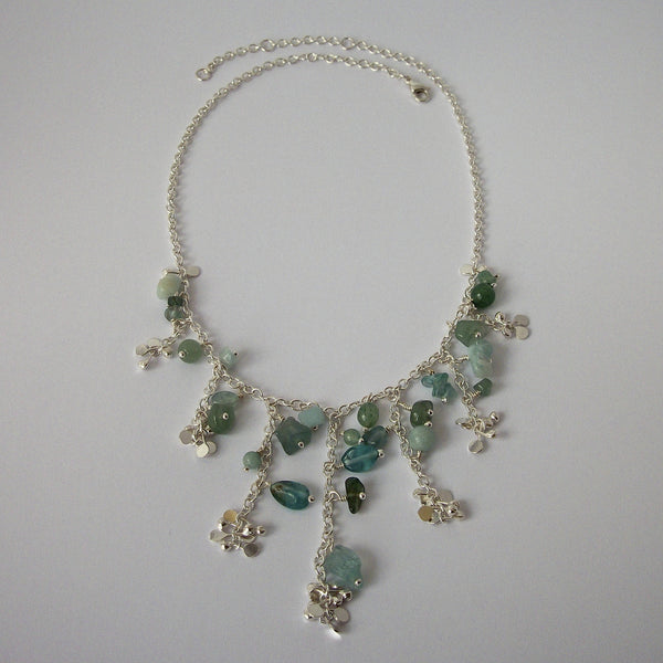 Adorn semi graduated Necklace with amazonite, apatite and aventurine, polished silver by Fiona DeMarco