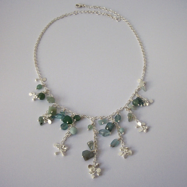 Adorn semi graduated Necklace with amazonite, apatite and aventurine, satin silver by Fiona DeMarco