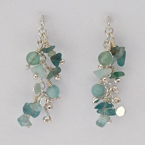 Adorn stud Earrings with amazonite, apatite and aventurine, polished silver by Fiona DeMarco