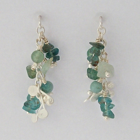 Adorn stud Earrings with amazonite, apatite and aventurine, satin silver by Fiona DeMarco