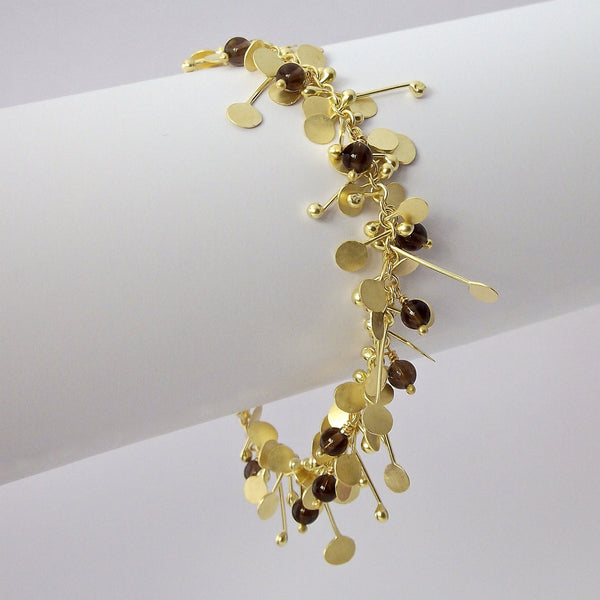 Blossom & Bloom Precious Bracelet with smoky quartz, 18ct yellow gold satin by Fiona DeMarco