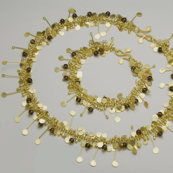 Blossom & Bloom Precious Bracelet and Necklace with smoky quartz, 18ct yellow gold satin by Fiona DeMarco