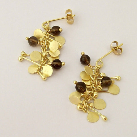 Blossom & Bloom Precious stud Earrings with smoky quartz, 18ct yellow gold satin by Fiona DeMarco