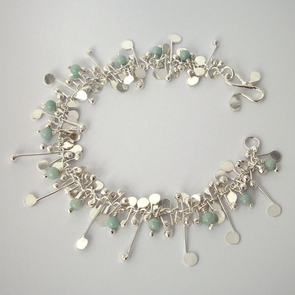 Blossom & Bloom Bracelet with amazonite, polished silver by Fiona DeMarco