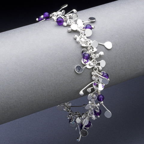 Blossom & Bloom Bracelet with amethyst, polished silver by Fiona DeMarco