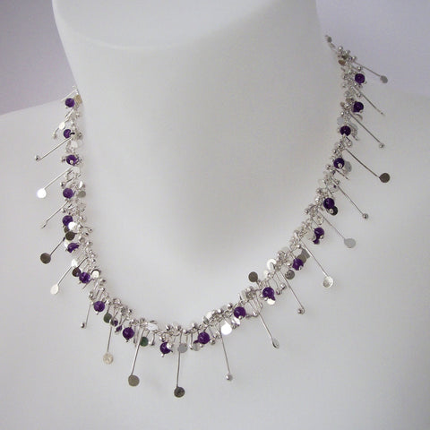Blossom & Bloom Necklace with amethyst, polished silver by Fiona DeMarco