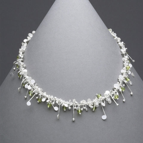 Blossom & Bloom Necklace with peridot, satin silver by Fiona DeMarco
