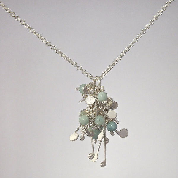 Blossom & Bloom Pendant with amazonite, polished silver by Fiona DeMarco