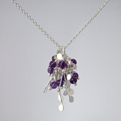 Blossom & Bloom Pendant with amethyst, polished silver by Fiona DeMarco