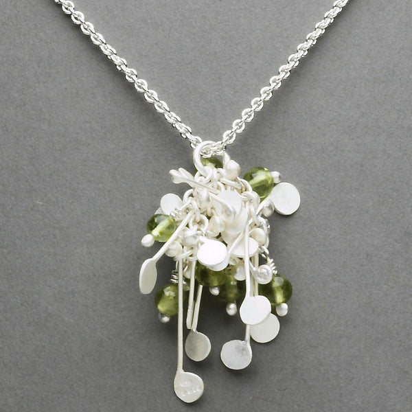 Blossom & Bloom Pendant with peridot, satin silver by Fiona DeMarco