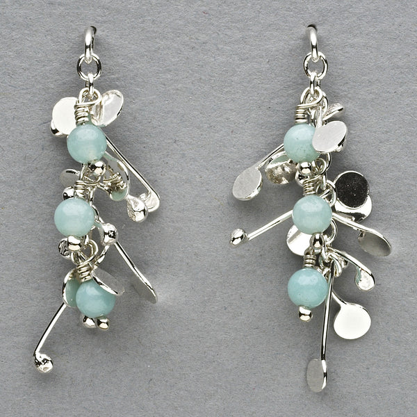 Blossom & Bloom stud Earrings with amazonite, polished silver by Fiona DeMarco