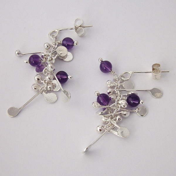 Blossom & Bloom stud Earrings with amethyst, polished silver by Fiona DeMarco