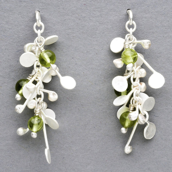 Blossom & Bloom stud Earrings with peridot, satin silver by Fiona DeMarco