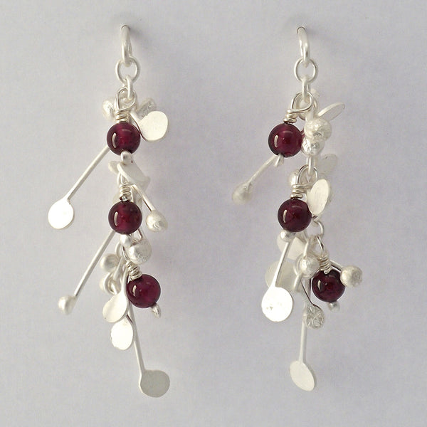 Blossom & Bloom stud Earrings with garnet, satin silver by Fiona DeMarco