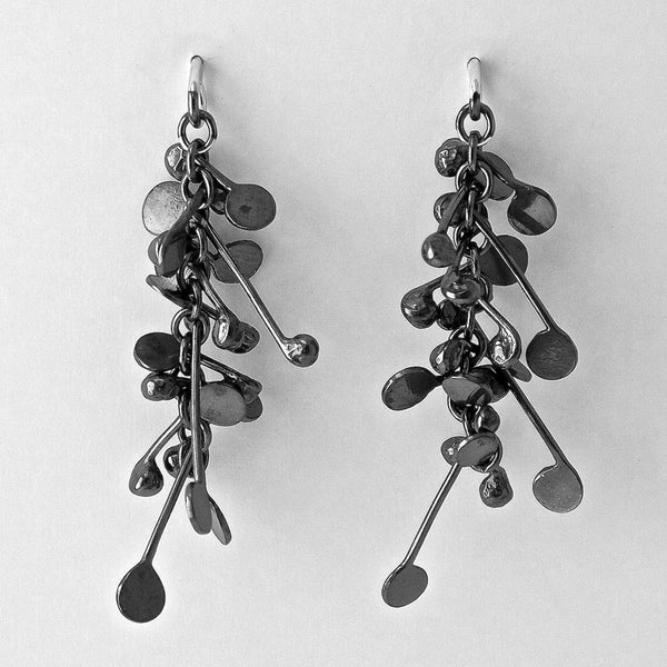Blossom stud Earrings, oxidised silver by Fiona DeMarco