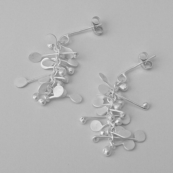 Blossom stud Earrings, satin silver by Fiona DeMarco