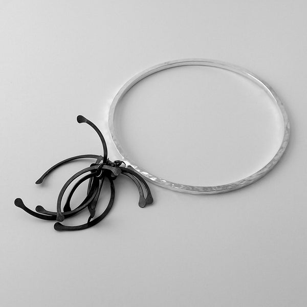 Contour Cluster Bangle, oxidised silver by Fiona DeMarco