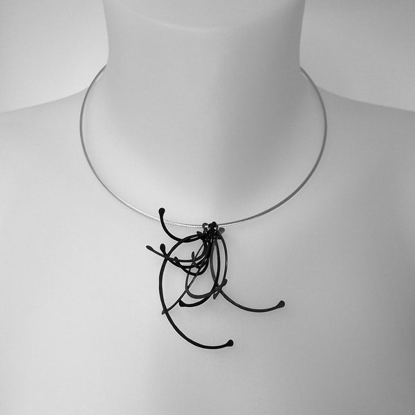 Contour Cluster Necklet, oxidised silver by Fiona DeMarco