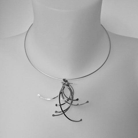 Contour Cluster Necklet, polished silver by Fiona DeMarco