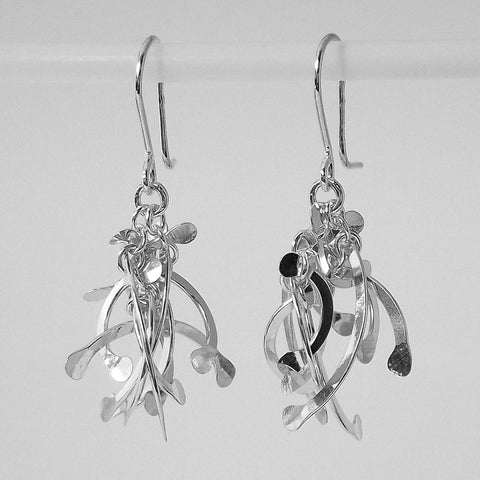 Contour Cluster dangling Earrings, polished silver by Fiona DeMarco