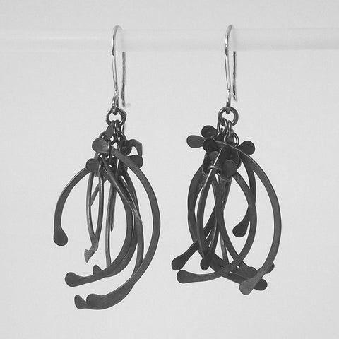 Contour Cluster multi dangling Earrings, oxidised silver by Fiona DeMarco