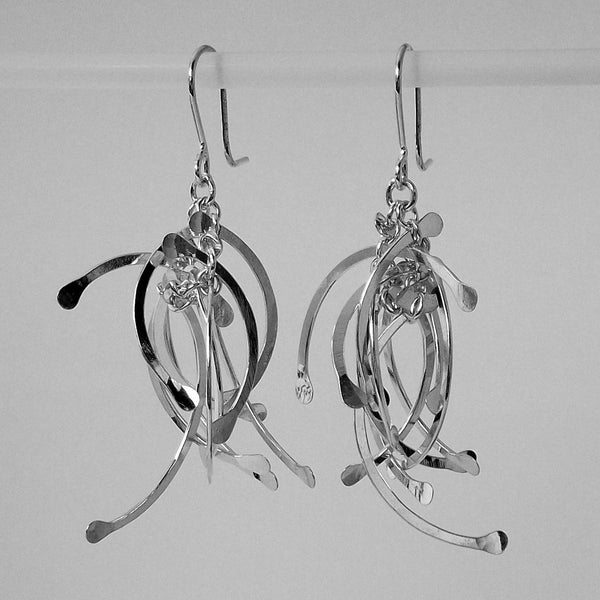 Contour Cluster multi dangling Earrings, polished silver by Fiona DeMarco