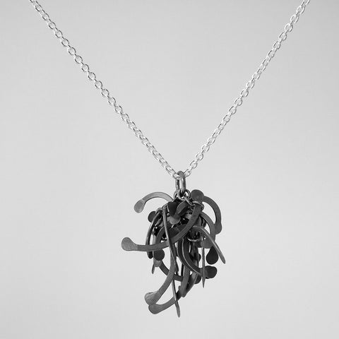 Contour Cluster Pendant, oxidised silver by Fiona DeMarco