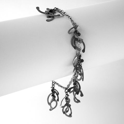 Contour charm Bracelet, oxidised silver by Fiona DeMarco