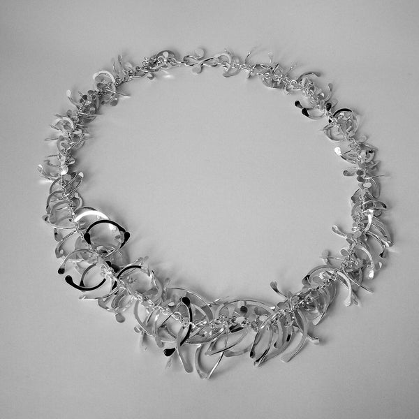 Contour graduated Necklace, polished silver by Fiona DeMarco