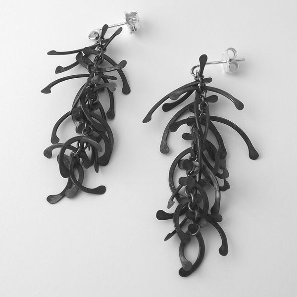 Contour graduated stud Earrings, oxidised silver by Fiona DeMarco