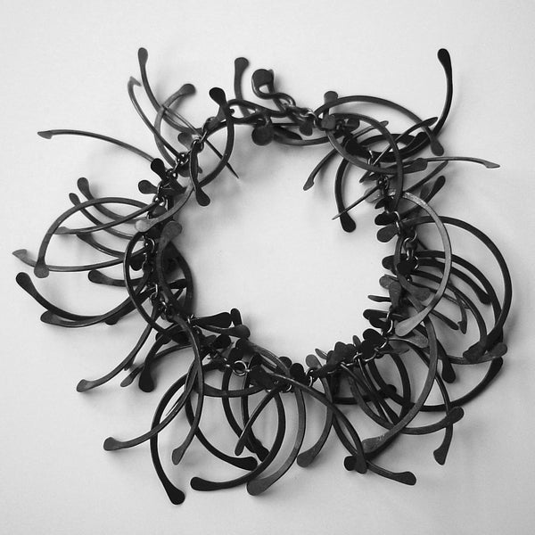 Contour multi Bracelet, oxidised silver by Fiona DeMarco